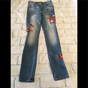 Express Red Flower Jeans